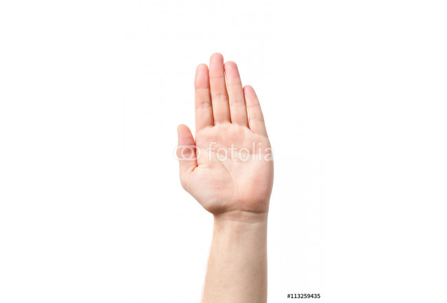 Man hand sign isolated on white background. Men's hand. 64239