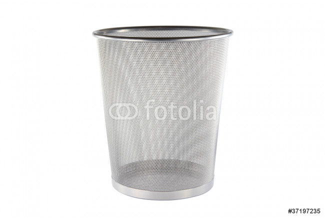 An empty metal trashcan isolated on white background 64239