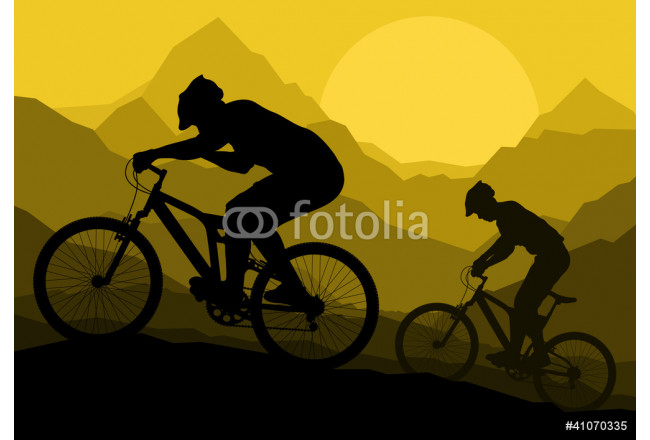 Mountain bike bicycle riders in wild mountain nature landscape v 64239