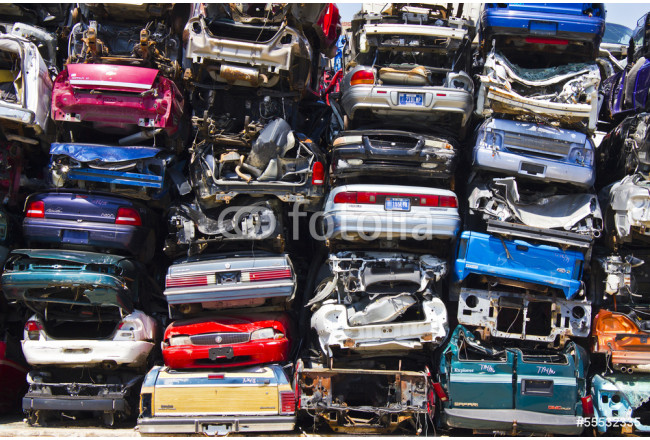Discarded Junk Cars Piled Up After Crushing 64239