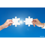 Two hands assembling jigsaw puzzle pieces 64239
