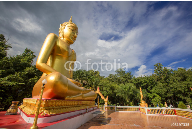 Buddha statues, large golden yellow. Against a backdrop of brigh 64239