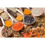 Various colorful spices on wooden table 64239