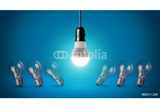 Glowing LED bulb and simple light bulbs 64239