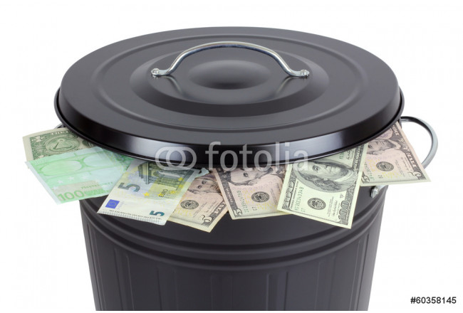 Euro and Dollar banknotes in a trash can 64239