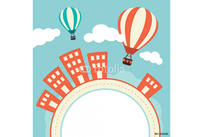 Hot Air Balloons Over Buildings 64239