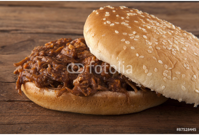 Pulled pork in  a bun tilted top 64239
