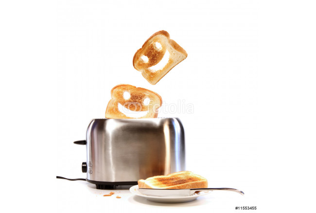 Toasted bread with toaster on white 64239