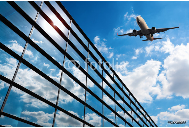 glass curtain wall and aircraft 64239
