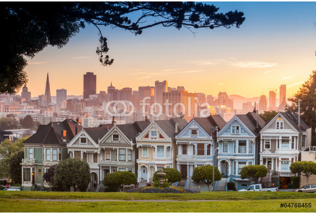 Famous view of San Francisco at Alamo Square 64239