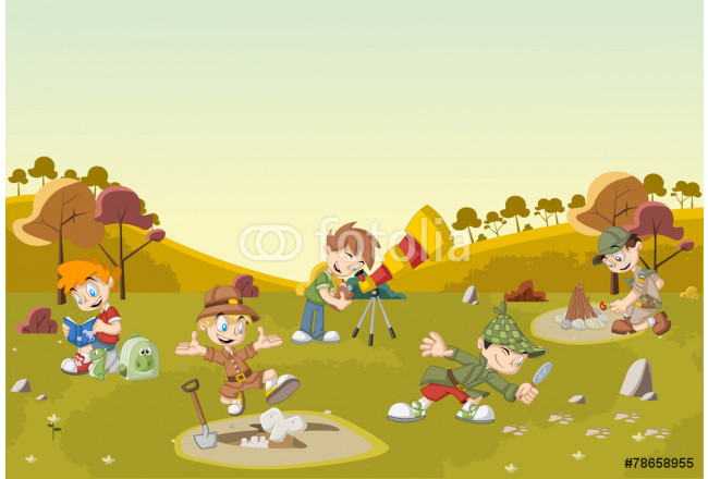 Cartoon explorer boys on green field wearing different costumes 64239