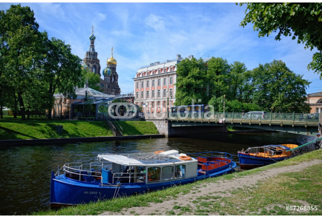 Painting The Moyka river,The Second Sadovy Bridge and the boats 64239