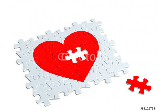Love concept  Heart of the jigsaw puzzle 64239