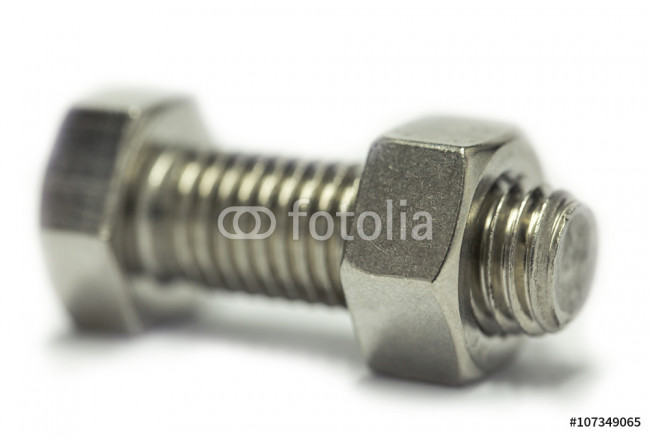 Bolts and nut isolate on white background, Machine equipment in industry job, industry background. 64239