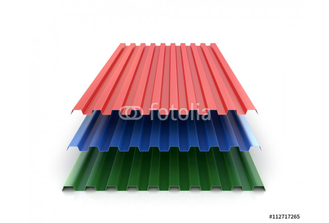Steel colored goffered plates for roof decoration. 3d illustrati 64239