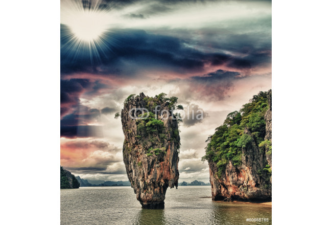 Beautiful rock emerging from James Bond Island Bay, Thailand 64239