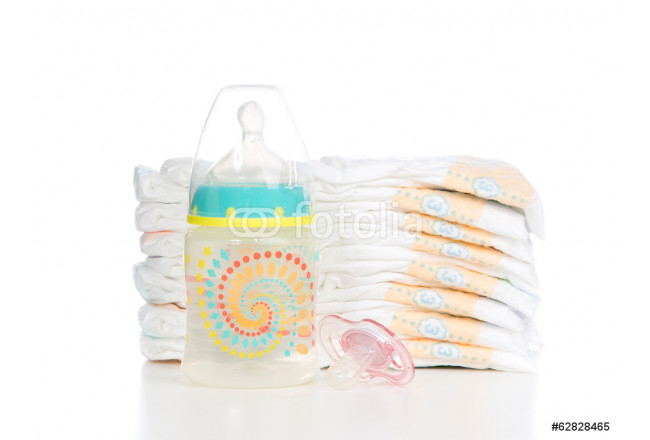 Bild auf Leinwand child stack of diapers, nipple soother baby feeding bottle with 64239