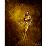 Woman Fashion Model Gold Dress, Beauty Girl in Glamour Gown 64239