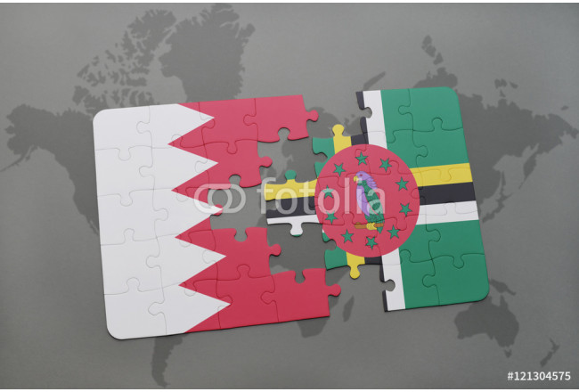 puzzle with the national flag of bahrain and dominica on a world map background. 64239