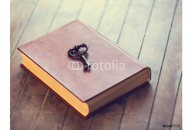 Painting Retro key and opened book on wooden table. 64239