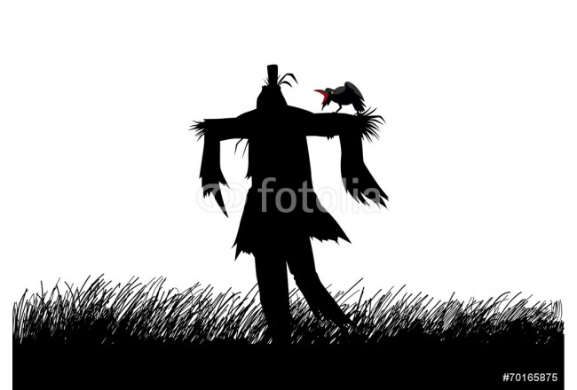 Silhouette illustration of a scarecrow on a field 64239