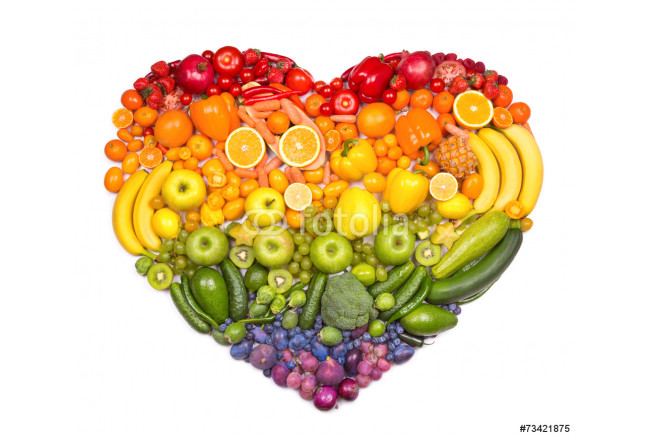 Rainbow heart of fruits and vegetables 64239