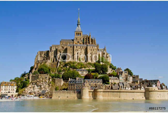 Mont Saint-Michel, a medieval fortification, cloister and church on an island in the Atlantic ocean near Normandy in France.  64239