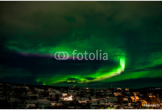 Nothern lights over smal village. Aurora Borealis 64239