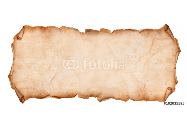 Old Torn Paper Scroll Isolated on a White Background 64239