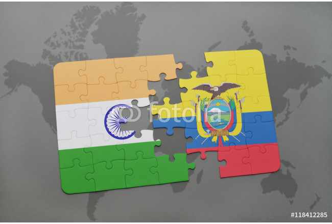 Bild auf Leinwand puzzle with the national flag of india and ecuador on a world map background. 64239
