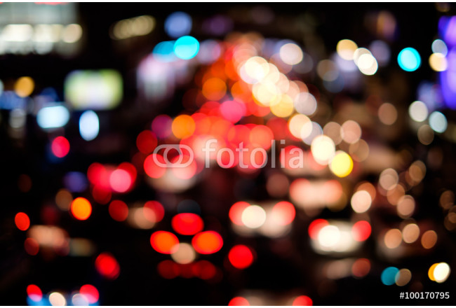 Obraz nowoczesny Abstract blur bokeh of traffic jam on road in the city 64239