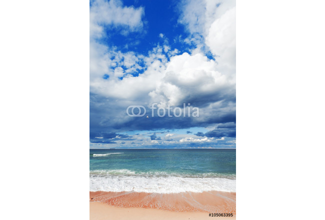 exotic tropical beach, golden sand and beautiful clouds 64239