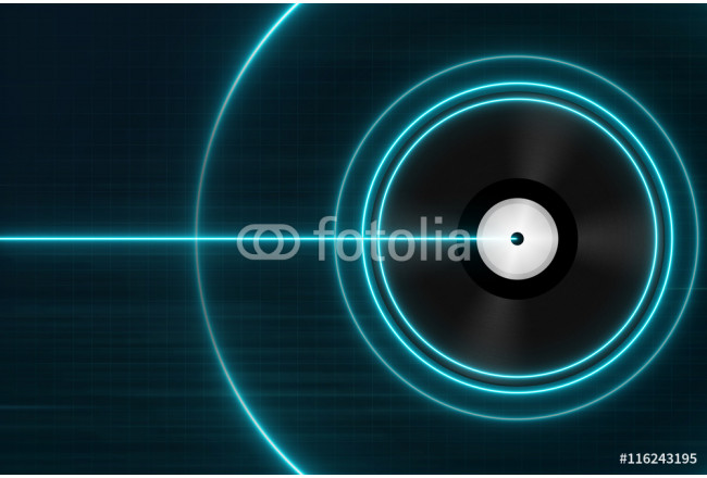 Classic Black Vinyl Records with Blue Light - Electronic Music Concept 64239