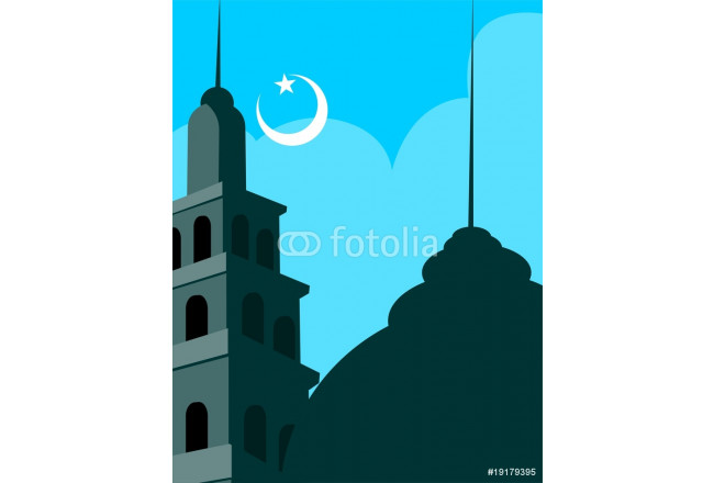 Illustrations of mosque with domes, stars and moon 64239