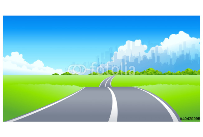 City Skyline and Road passing through a landscape 64239