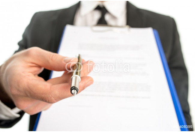 Businessman handing over a contract for signature 64239