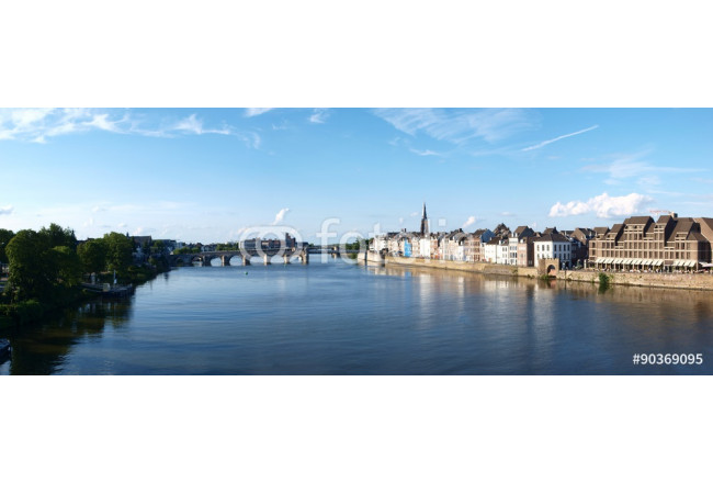 The panoramic view of Maastricht, Netherlands from the High Bridge. 64239