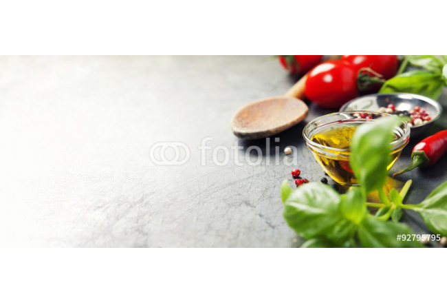 Wooden spoon and ingredients on old background 64239