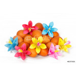 Easter eggs on the plate with a paper flowers 64239