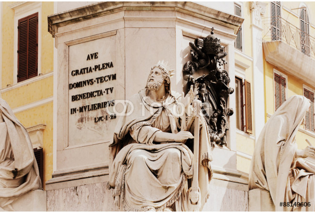 Biblical Statues at Base of Colonna dell'Imacolata in Rome, Italy 64239