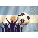 silhouettes of Soccer fans with flag of Argentina.Cheer Concept 64239