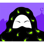 Illustration of Muslim woman in blue background 64239