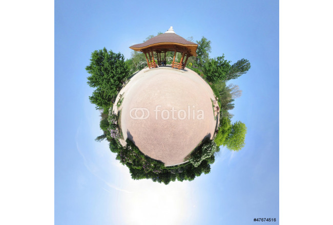 Bild auf Leinwand Rotunda in the Chinese/Japan style, abstract view (little planet 64239