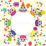 Birthday party card with funny owls 64239