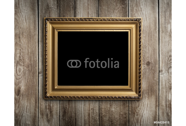 Painting Vintage wooden frame on wood background 64239