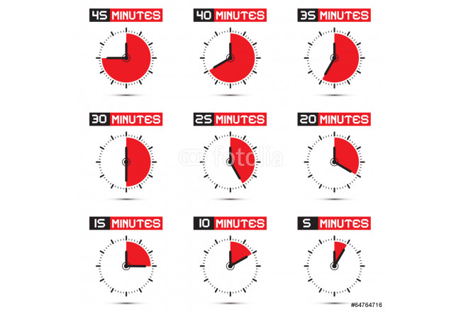Five to Forty Five Minutes Stop Watch Illustration 64239