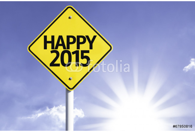 Happy 2015 road sign with sun background 64239