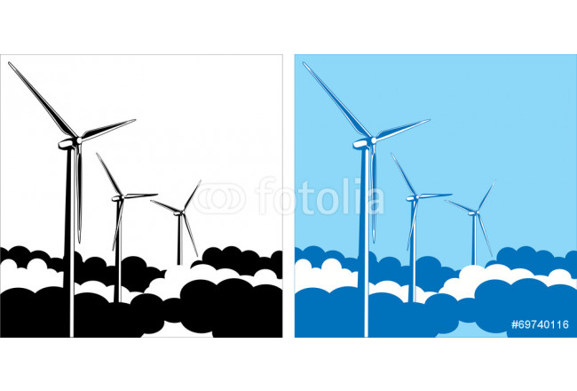 wind turbines in the clouds 64239