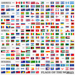 World flags with official proportions, by continents 64239