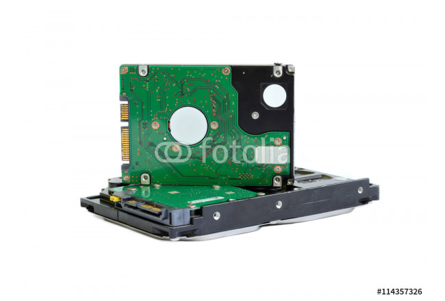 "Obraz nowoczesny 3,5"" and 2,5"" hard disk drives on a white background with clipping path for designers 64239"